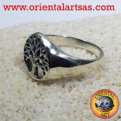 árbol de la vida anillo plato de plata