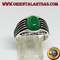 Bague en argent avec agate verte et cabochon ovale sur les côtés