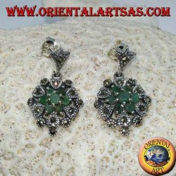 Silver earrings with 7 round emeralds and marcasites