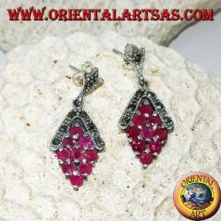 Boucles d'oreilles en argent avec 9 rubis ronds naturels serties de losange et de marcassite