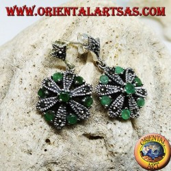Silver daisy earrings with 6 +1 natural round and marcasite emeralds