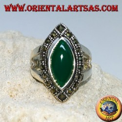 Silver ring with cabochon-cut green agate, surrounded by marcasite