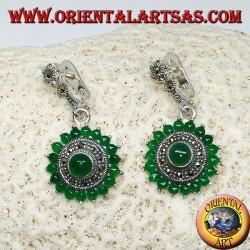 Boucles d'oreilles rondes en argent avec 18 + 1 rond en agate verte et marcassites