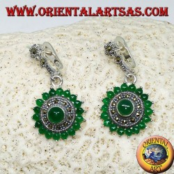 Round silver earrings, with 18 + 1 round green agate and marcasites