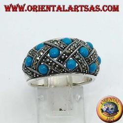 Silberring mit gebogenem Band und zehn kugelförmigen Türkisen mit Markasit