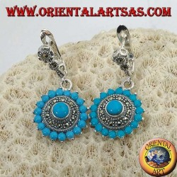 Round silver earrings, with 18 + 1 turquoise and surrounded by marcasites