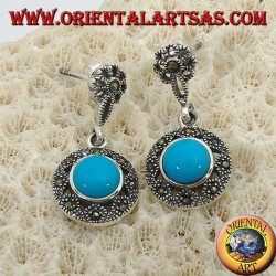Round pendent silver earrings, with a central turquoise surrounded by marcasites