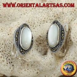 Silver lobe earrings with oval mother of pearl surrounded by marcasites