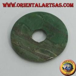 Pendentif en jade vert africain en forme de beignet 35 mm. en diamètre Ø cordon complet  (2)
