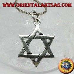 Pendentif en argent, étoile de David ou mieux le bouclier de David, étoile juive