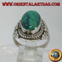 Handmade ring in Nepal in 925 silver with two-tone Tibetan antique turquoise