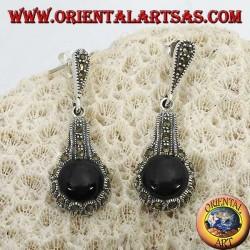 Boucles d'oreilles en argent avec onyx rond entouré de marcassites