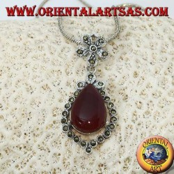 Silver pendant with drop-shaped carnelian surrounded by marcasite