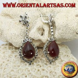 Silver pendant earrings with drop-shaped carnelian surrounded by marcasite