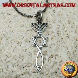 Ciondolo in argento della Menorah con stella di Davide