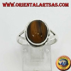 Simple silver ring with oval Tiger's eye