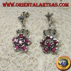 Silver pendent earrings with 6 natural round rubies set to form a flower and marcasite