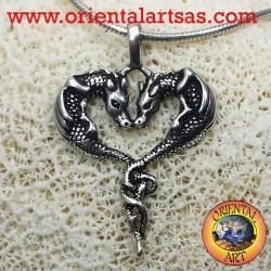 Ciondolo coppia di draghi innamorati in argento