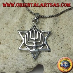 Silver pendant of the Menorah above the star of David