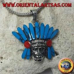 Ciondolo in argento, testa di Indiano nativi con copricapo di penne in turchese