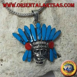 Silver pendant, native Indian head with turquoise feather headdress