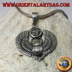 Pendentif en argent, scarabée égyptien avec oeil de Horus
