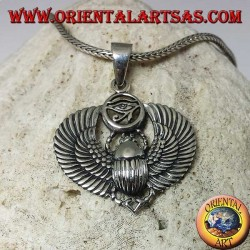 Silver pendant, Egyptian scarab with eye of Horus