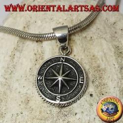 Silberanhänger, Windrose (Kompass) im Basrelief