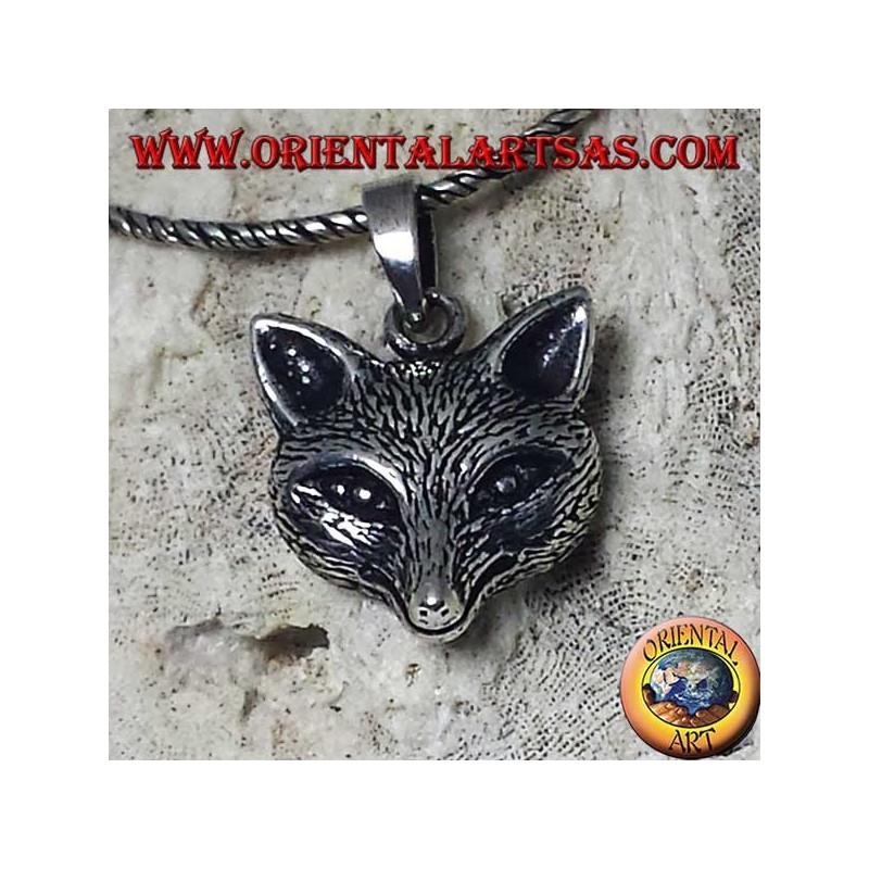 silver pendant with fox head