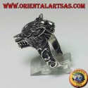 Ring in 925 ‰ silver, with a wolf's head that growls