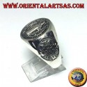 Silver ring with Saint Benedict's seal with cross on the sides