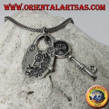 Pendant made of 925 silver of a padlock and key with clock