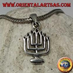 Ciondolo in argento della Menorah lampada ad olio a sette braccia (piccolo)