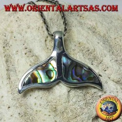 Silver dolphin tail pendant with paua shell