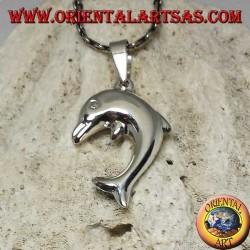 Ciondolo in argento, il delfino che salta