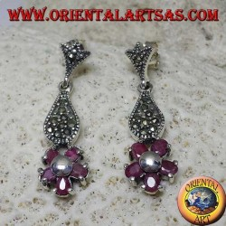 Silver pendent earrings with 5 natural oval rubies set to form a flower and marcasite