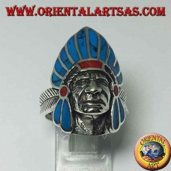 Ring in silver Indian native American face with turquoise feathers
