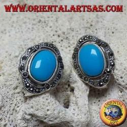 Boucles d'oreilles à lobes en argent avec turquoise ovale et marcassites