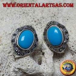 Silver lobe earrings with oval turquoise and marcasites