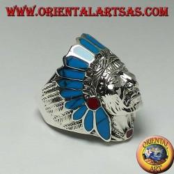Bague en argent d'une tête d'amérindienne avec des plumes de turquoise et de corail (grande)