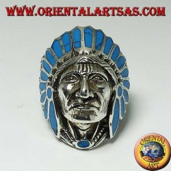 Silver ring of Indian native American head with turquoise feathers (large)