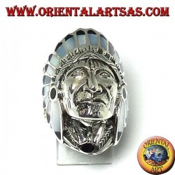 Silver ring, Indian American native head with mother-of-pearl feathers (large)