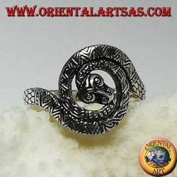 Anillo de serpiente cobra plateada espiral sagrada de kundalini