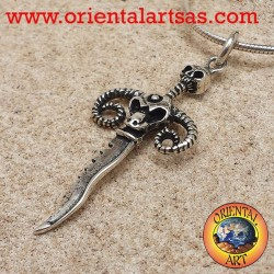 dagger pendant with skull and silver ram horns