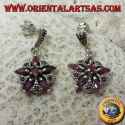 Silver earrings with 5 natural rubies in a shuttle + 1 round to form a star and marcasite