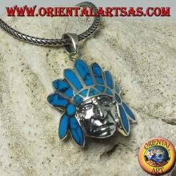 Pendentif en argent, indigène indien avec coiffe de plumes turquoise