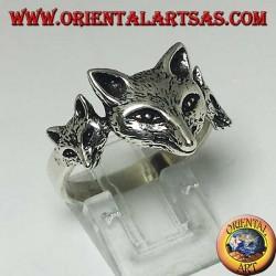 Anello in argento con volpe con i suoi cuccioli