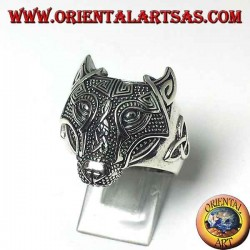 Silver wolf's head ring with Celtic knot