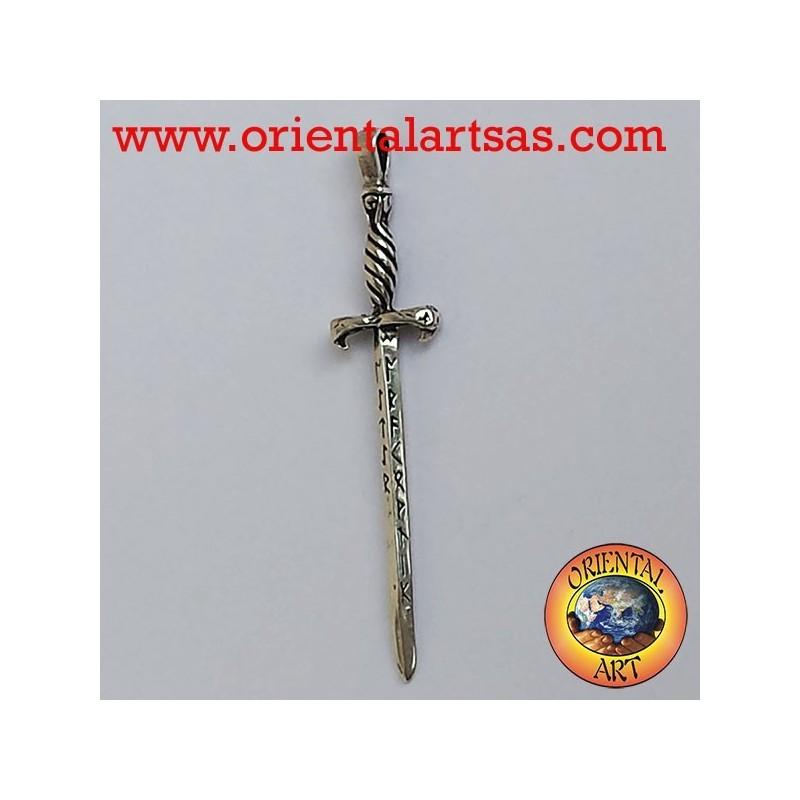Ciondolo Spada di GLASTONBURY con rune in argento