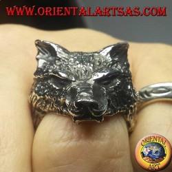 Bague tête de loup en argent (grand)